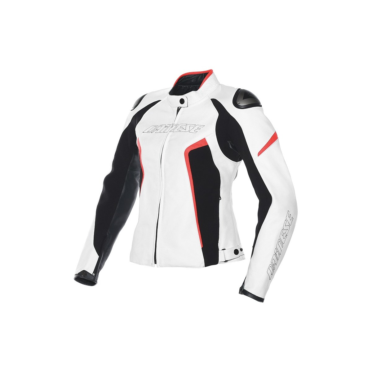 12868a1cfe9 Details about Dainese Racing D1 Womens Leather Jacket White Black Fluo Red  42 Euro 4 USA