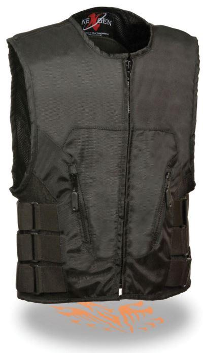 Milwaukee Mens Textile SWAT Style Biker Vest Black