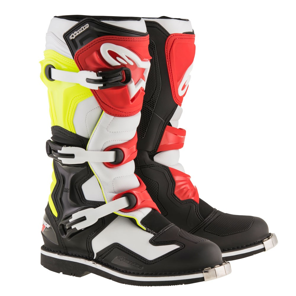 alpinestars tech 1 mens mx offroad boots black white yellow red ebay. Black Bedroom Furniture Sets. Home Design Ideas