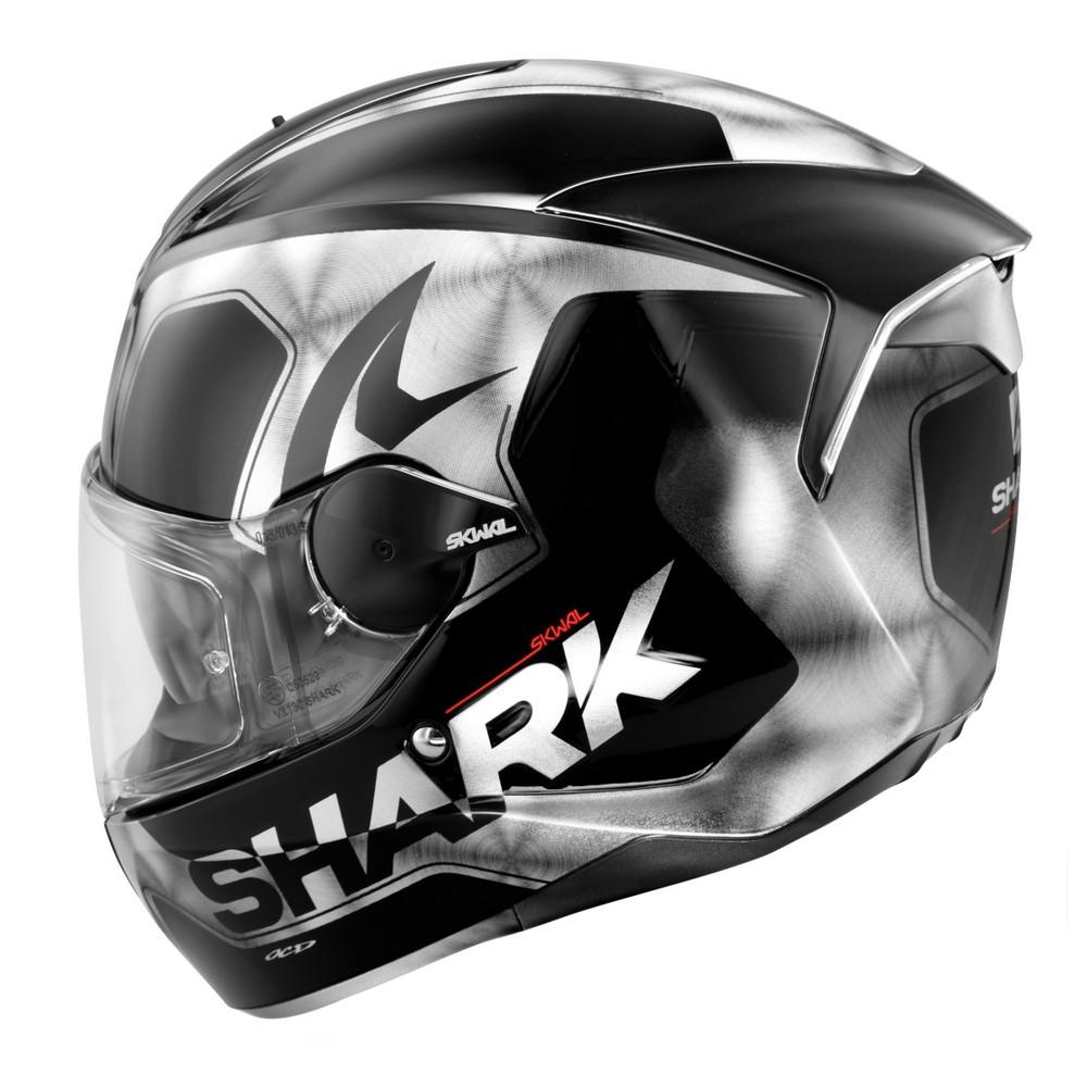 shark skwal trion motorcycle helmet black white led ebay. Black Bedroom Furniture Sets. Home Design Ideas