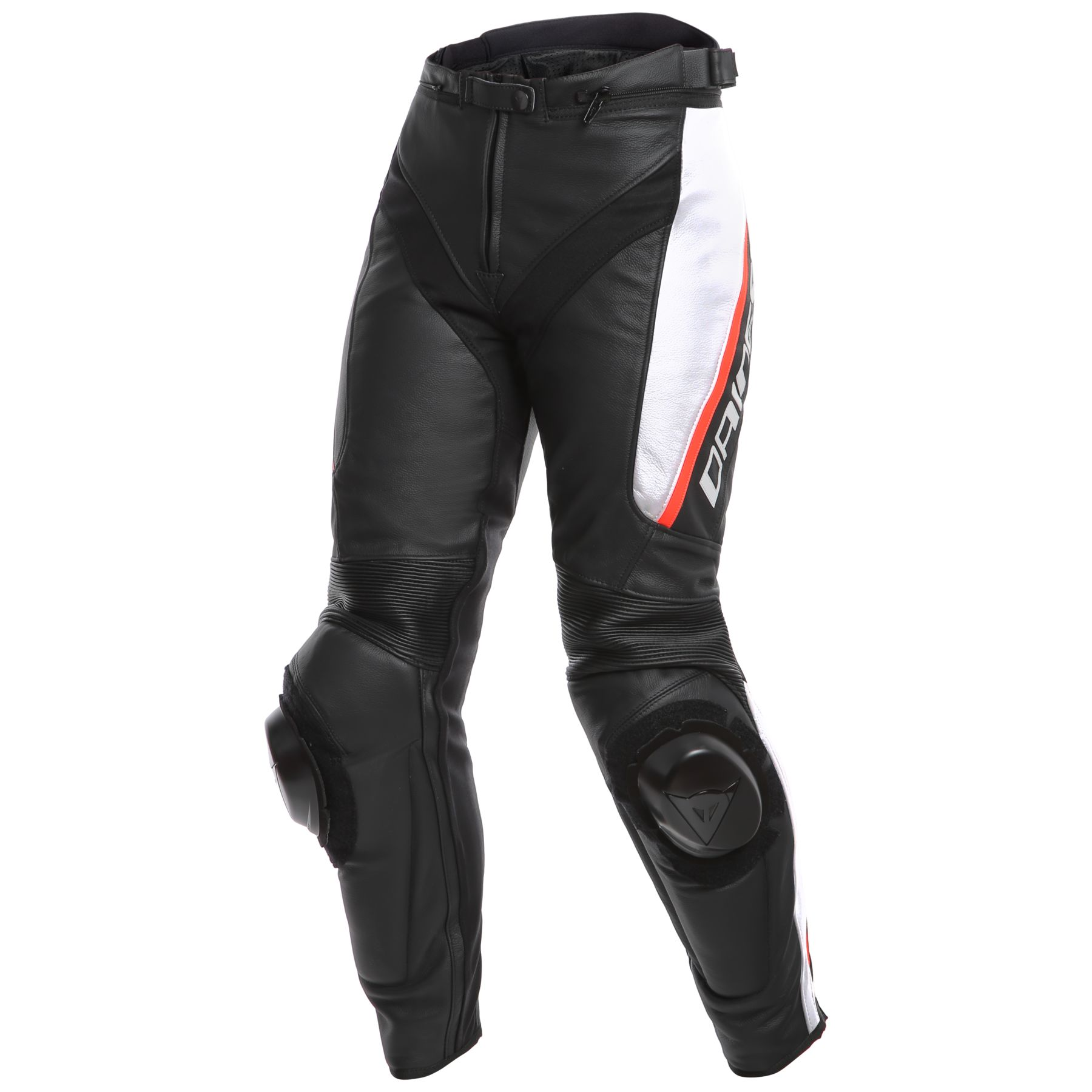 Dainese Delta 3 Womens Leather Motorcycle Pants Black/White/Red 40 Euro