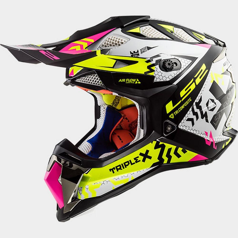 LS2 Subverter MX470 Triple X MX Offroad Helmet Black//Pink//Hi-Vis