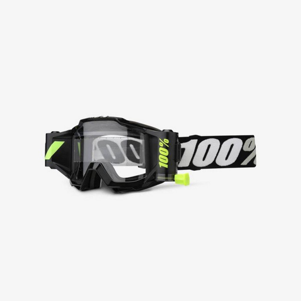 100/% Accuri Forecast Fluorescent MX Offroad Goggles Yellow//Black//Clear Lens