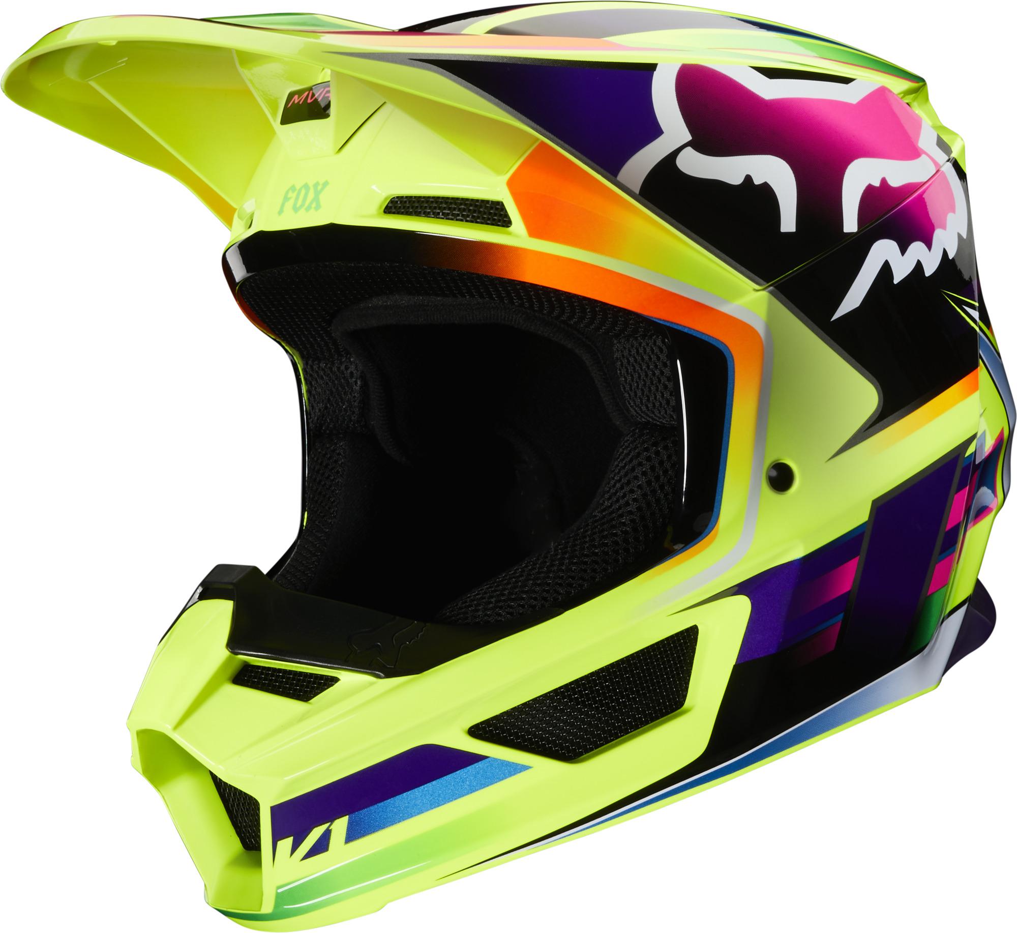 Fox Racing V1 Gama Mx Offroad Helmet Yellow Ebay